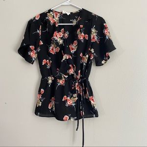 Sienna Sky (XS) Black and Floral Peplum Sheer Top